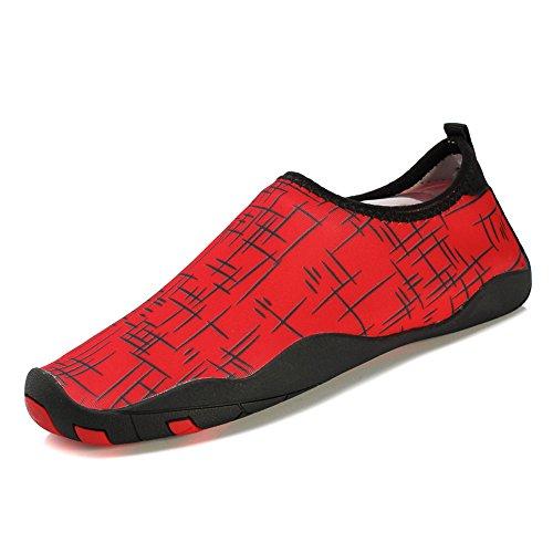 Chaussures De Leau Respirant Fung-wong Womens Chaussettes De Peau De Plage À Séchage Rapide Rouge