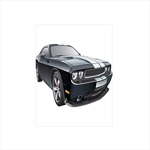 - Decorative Privacy Window Film/Black Modern Pony Car with White Racing Stripes Coupe Motorized Sport Dragster/No-Glue Self Static Cling for Home Bedroom Bathroom Kitchen Office Decor Black Grey White