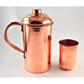 Karmakara Handmade Pure Copper Vessel Drink Ware Pitcher (Jug) And Mug Set For Water India