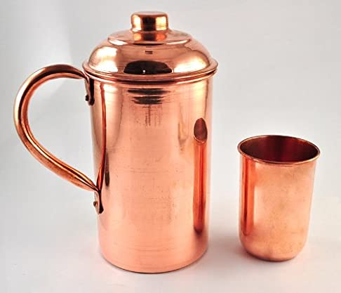 Handmade pure Copper Vessel Drink ware Pitcher (Jug) and mug set for water india Whiskey Glasses at amazon