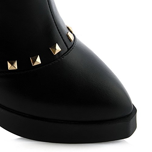 AmoonyFashion Womens Pointed-Toe Closed-Toe High-Heels Boots with Rivet and Platform Black mdDv5G