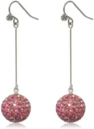 GiftJewelryShop 15MM Sterling Silver Plated Pink Disco Crystal Ball Dangle Earrings