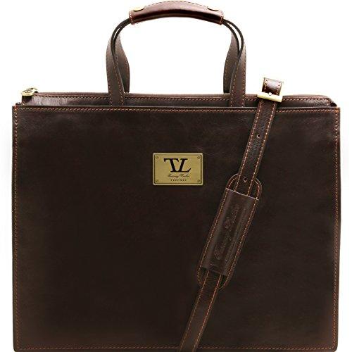 81413434 - TUSCANY LEATHER: PALERMO - Serviette en cuir avec 3 compartiments, marron foncé