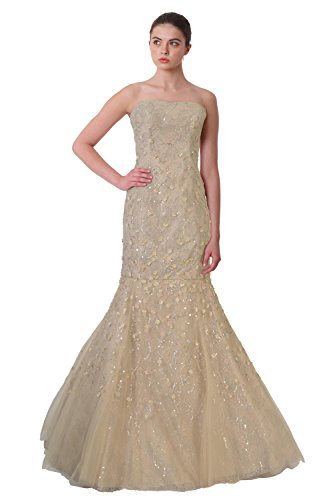 Carolina Herrera Floral Embellished Strapless Lace Ball Evening Gown Dress Champagne (Carolina Herrera Dresses Women)