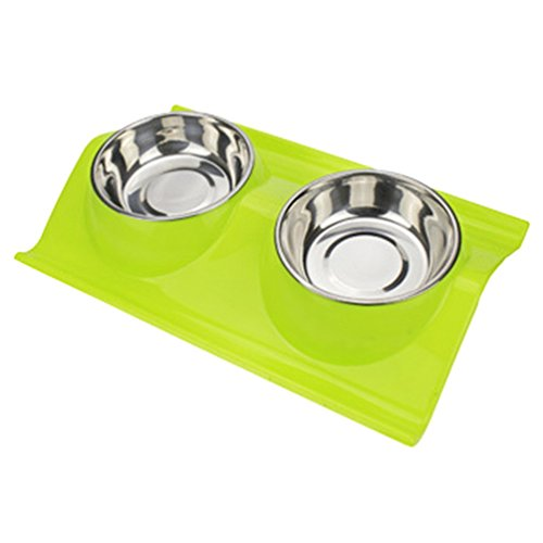 Haotfire Dog Cat Bowl, Set of 2 Small Pet Bowl, Double Stainless Steel Pet Water & Food Feeder with Non-Spill Silicone Tray and Mat Feeder Placemat