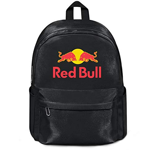 - Womens Girl Boys College Bookbag Red-Bull-Logo- Casual Nylon Water Resistant School Backpack Bag Black