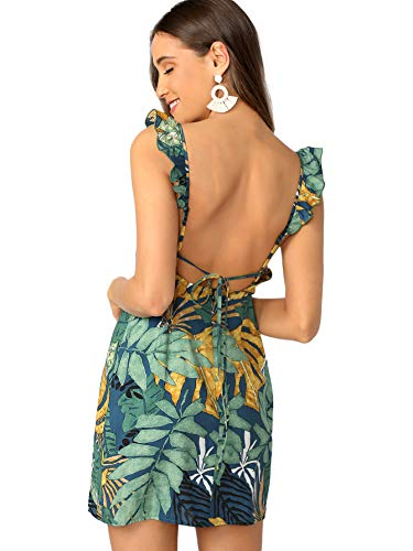 SheIn Women's Summer Sleeveless Leaf Print Ruffle Straps Backless Tie Dress X-Small Green