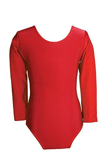 Child Girls Leotard Sleeved Stretchy Dance Gymnastics Ballet Sports Uniform Top (Red, 28 ( 7 - 8 Years)) by REAL LIFE FASHION LTD by REAL LIFE FASHION LTD