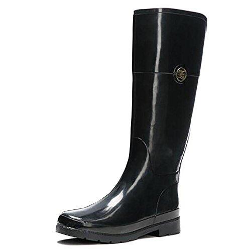 Rain Boots Damen Hohe Naturkautschuk Hand Klassischen Pfützen Mädchen Gummistiefel Schwarz, Black, 37