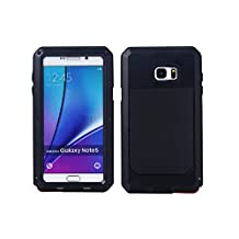 Samsung Galaxy Note 5 Aluminum Metal Case,[Military Heavy Duty]Extreme Water Resistant ShockProof /Dust/Dirt/Snow Proof Durable Glass Protection Cover Case Defender Coque Housse Étui (Black)
