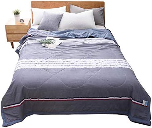 学生の寝室のキルト格子縞プリント夏のキルト男の子の綿カバークール毛布 (Color : E, Size : 180*220)