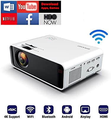 SOTEFE® Android WiFi Projector Portable - Wireless Mini LED Video Projector  1080P Full HD Projector Support 4K Download App Movie Online Home Projector  Theater TV-Box HDMI USB TF/SD-Card VGA AV Audio: Projectors: