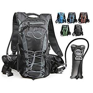 Live Infinitely Hydration Backpack 2L / 3L TPU Leak Proof Water Bladder 600D Polyester Adjustable Padded Shoulder, Chest & Waist Straps Silicon Bite Tip & Shut Off Valve Daypack Cycling & Hiking