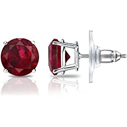 14k Gold 4-Prong Basket Round Ruby Stud Earrings (1/2 cttw) Secure Lock Back Disc