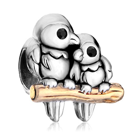 Silver Plated Pugster Love Birds Two Tone Charm Bead Fits Pandora Charms Bracelet