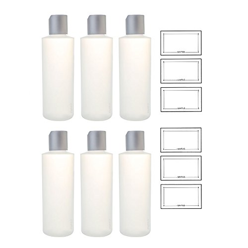 Clear Natural Refillable Plastic Squeeze Bottle with Disc Cap - 6 oz (6 Pack) + Labels Toner 6 Oz Bottle
