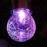 H+K+L 1pc Colour Changing Solar Environment-Friendly Mosaic Crackle Globes LED Garden Lights (Purple)