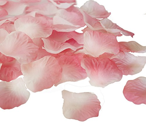 JUYO VONSAN 1000pcs Rose Petals Wedding Flowers Favors for you special wedding (Pink plus White)
