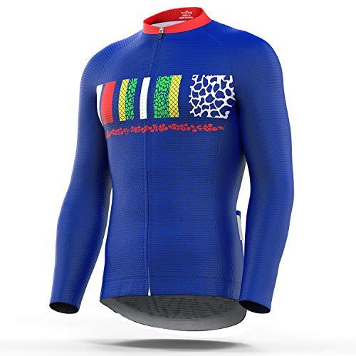 77a02ee03 4ucycling Men s Full Zip Moisture Wicking Long Sleeve Cycling Jersey