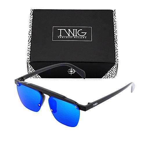 Azul sol Gafas TWIG degradadas FOUCAULT de mujer hombre espejo Negro zaq6wa
