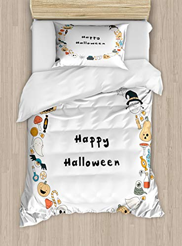 Ambesonne Halloween Duvet Cover Set Twin Size, Happy Halloween Spooky Theme Pumpkin Ghosts Spider Web Line Drawing Circle Frame, Decorative 2 Piece Bedding Set with 1 Pillow Sham, Multicolor ()