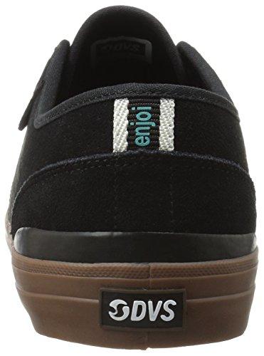 DVS - Zapatillas de skateboarding de ante para hombre negro negro