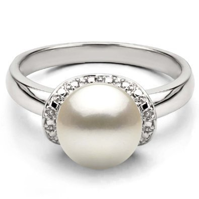 14k White Gold 8-8.5mm White Freshwater Cultured Pearl Round Design Illusion Ring, Size 5.5 ()