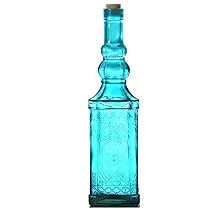 Botellas decorativas en 4 colores botellas de vidrio botellas de licor velas - Turquesa