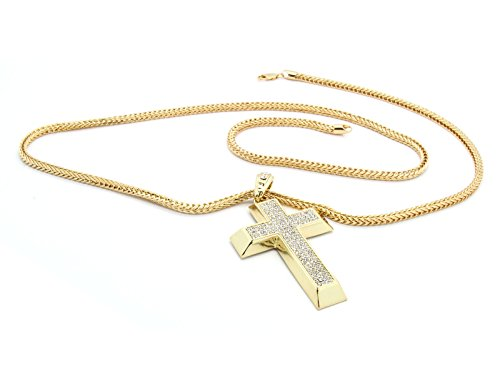 Men's Gold Tone Iced Out Cross Pendant Hip-Hop 4mm 36