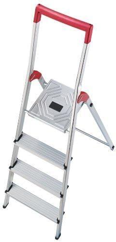Hailo 8934001 - Escalera auxiliar con 4 peldaños, color rojo y plateado: Amazon.es: Hogar