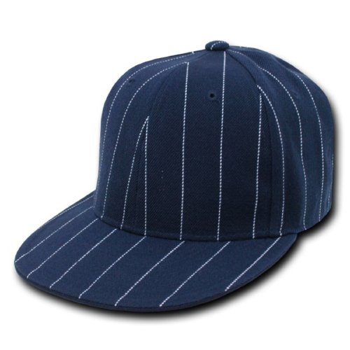 2006 Hat Pin (DECKY Pin Striped Fitted Cap, Navy, 6 7/8)