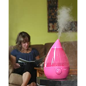 Crane USA Humidifiers - Pink Drop Ultrasonic Cool Mist Humidifier - 1 Gallon Adjustable Mist Output, Automatic Shut-off, Whisper-Quiet Operation, for Home Bedroom Office Kids and Baby Nursery