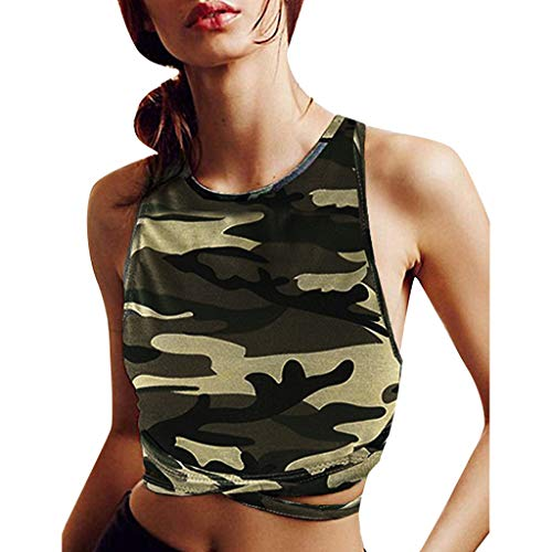 Womens Camouflage Crop Top Jersey Sleeveless Bustier Training Sports Backless Tank T Shirt (XL, Camouflage) (Jersey Bustier)