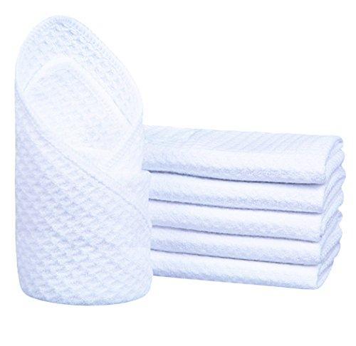 Sinland Mikrofaser Handtuch Waschlappen Gästehandtuch Gesichtstuch 33cm x 33cm 6er Set weiß
