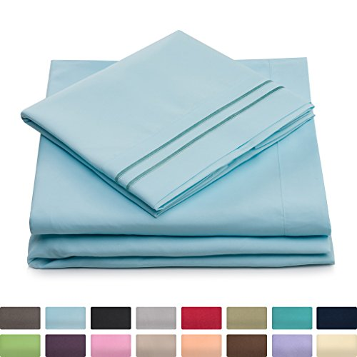 Twin Size Bed Sheets - Baby Blue Luxury Sheet Set - Deep Pocket - Super Soft Hotel Bedding - Cool & Wrinkle Free - 1 Fitted, 1 Flat, 1 Pillow Case - Light Blue Twin Sheets - 3 Piece - Pillow Top Twin Set