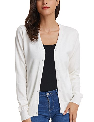Women's Stretchy Cardigan Open Front Button Down V-Neck Sweater (L,Ivory)