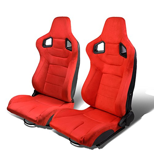 Set of 2 Universal Carbon Fiber Pattern Type-R Suede Reclinable Racing Seats w/Sliders (Red) ()