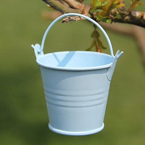 12pcs Mini Cute Metal Bucket Chocolate Candy Buckets Box Wedding Party Favor DIY Tin Favor Pails Mini Bucket Boxes Candy Bucket Box (Blue)