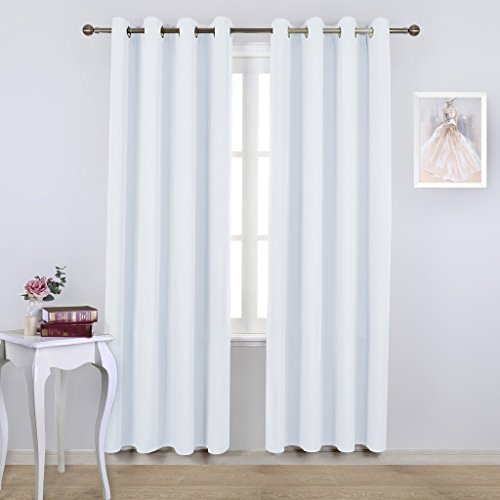 NICETOWN White Room Darkening Draperies and Curtains - Home Fashion Energy Saving Grommet Top Room Darkening Drape Panels for Bedroom (Set of 2 Panels, 52 by 84 Inch, Silver White) (And White Curtains Silver)