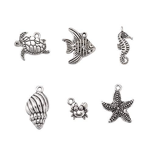 (Pandahall 5Sets/30pcs Antique Silver Mixed Ocean Tibetan Style Alloy Pendants Helix Starfish Sea Horse Crab Fish Tortoise Necklace Charms Jewelry Makings)