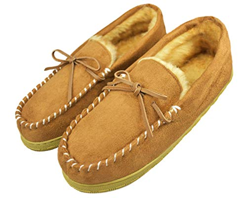 Men's Luxury Plush Lined Slippers with Memory Foam Sole Indoor Outdoor Moccasins US 10 Brown (FBA) ()