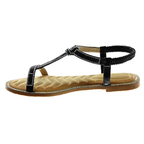Angkorly Women's Fashion Shoes Sandals - Slip-on - t-Bar - Ankle Strap - Rhinestone - Fantasy - Shiny Block Heel 1 cm Black AgVZfnZT