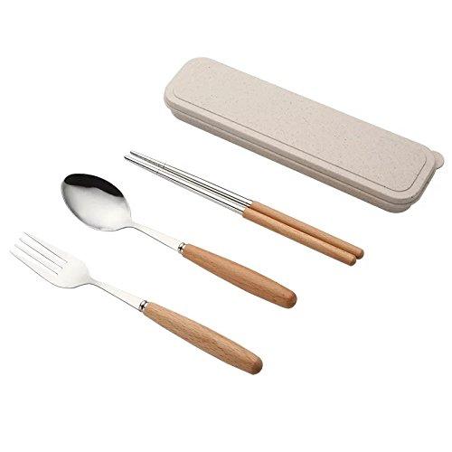 VONOTO 3pcsポータブル銀製スプーンフォーク箸テーブルウェアセット410ステンレススチール食器類シルバーwith旅行ボックス B07CM58Y1C