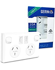 Gerintech Double Wall Socket with 2 USB Ports and 2 Switched Power Outlets, 10A