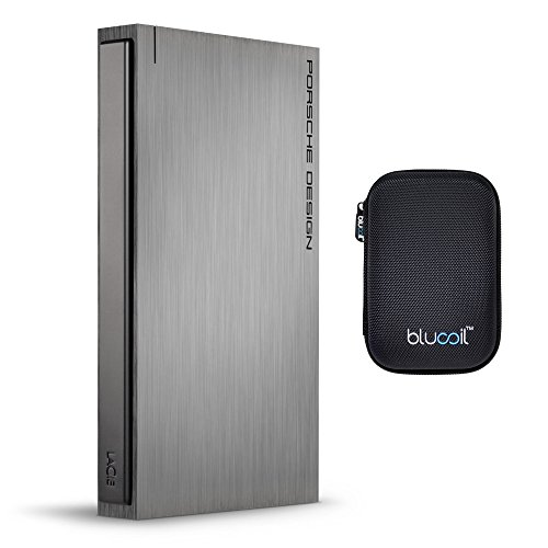 LaCie 1TB Porsche Design P'9220 Mobile Hard Drive USB 3.0/2.0 Compatible BUNDLED WITH Blucoil Portable Shockproof EVA Hard Case for 5.6 x 3.6 x 1.3'' for External Harddrive, Powerbank, GPS Devices by blucoil