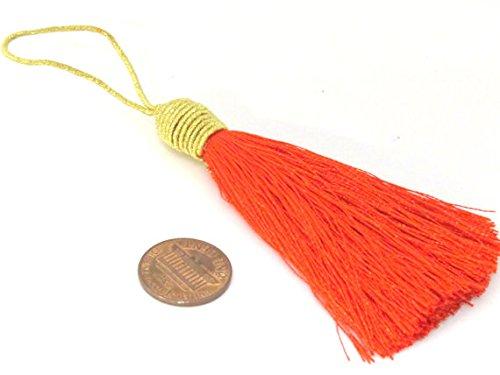 1 Piece - Long orange color silky tassel charm with golden cord twine - tassle fringe craft supply - TS007