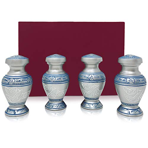 Set of 4 SmartChoice Keepsake Cremation Urns for Human Ashes - Handcrafted Funeral Memorial Mini Urns (Blue -