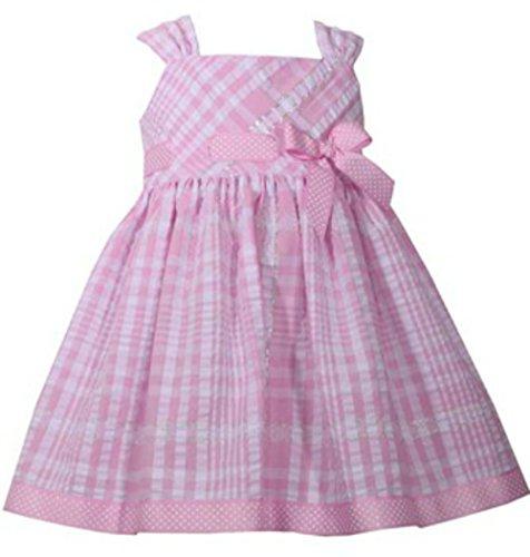 Bonnie Jean Pink and Metallic Seersucker A-Line Dress and Bloomer (18 M)