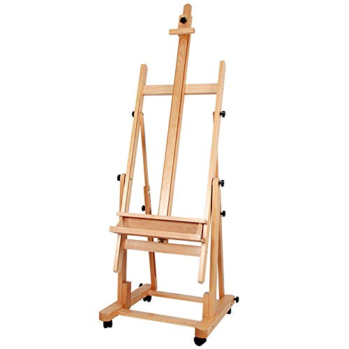 ATWORTH Artist Extra Large Easel Heavy Duty Beech Wood Easel Adjustable  H-Frame Easel Tilting Studio Easel with Caster Wheels, Holds Canvas up to  82