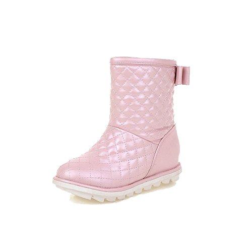 AllhqFashion Damen Mittler Absatz Niedrig-Spitze Rein Ziehen auf Stiefel,Pink,40